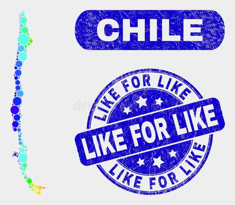 Spektrum-Mosaik-Chile-Karte und wie für wie Stempelsiegel beunruhigen lizenzfreie abbildung