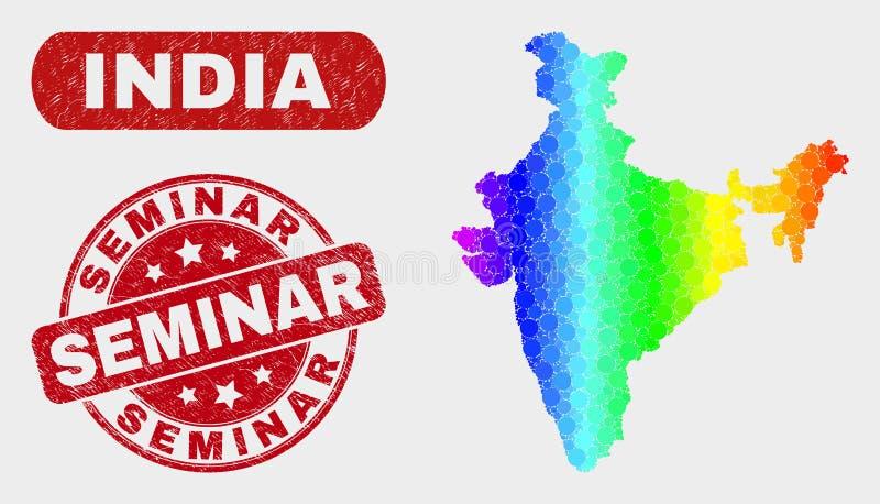 Spektrum-Mosaik-Indien-Karte und Schmutz-Seminar-Dichtung vektor abbildung