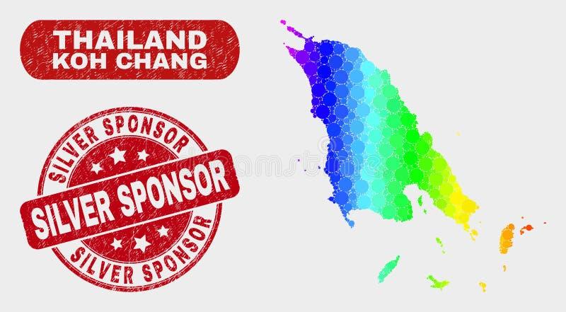 Spektrum-Mosaik Koh Chang Map und verkratzter silberner Sponsor-Stempel vektor abbildung