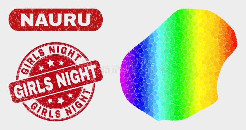Spektrum-Mosaik-Nauru-Karte und verkratztes Mädchen-Nachtwasserzeichen lizenzfreie abbildung