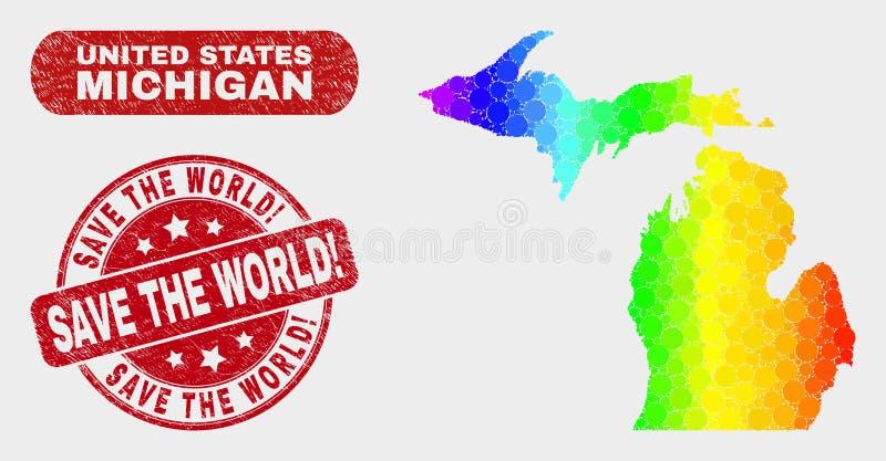 Spektrum-Mosaik-Staat Michigan-Karte und verkratzt retten die Welt! Wasserzeichen stock abbildung