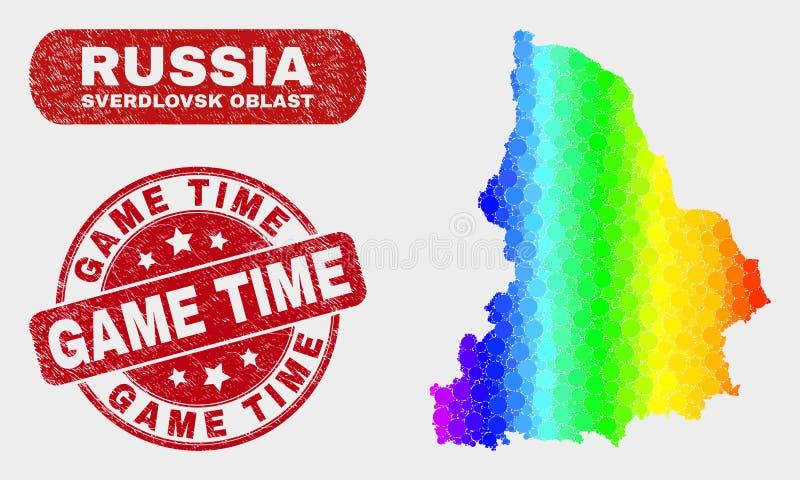 Spektrum-Mosaik-Swerdlowsk-Regions-Karte und verkratztes Spiel-Zeit-Stempel lizenzfreie abbildung