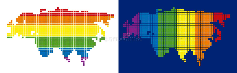 Spektrum PIXEL prucken Europa och Asien översikt stock illustrationer