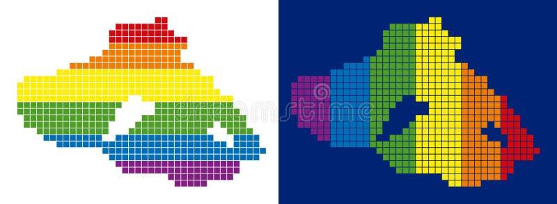 Spektrum-Pixel punktierte Grieche Lesbos-Insel-Karte stock abbildung