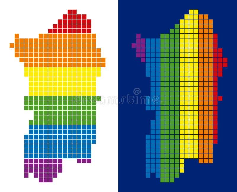 Spektrum-Pixel punktierte Italiener-Sardinien-Insel-Karte lizenzfreie abbildung