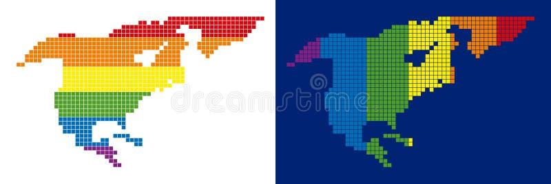 Spektrum-Pixel punktierte Nordamerika-Karte lizenzfreie abbildung
