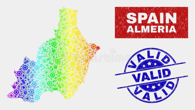 Spektrumenhet Almeria Province Map och skrapade giltiga stämplar stock illustrationer