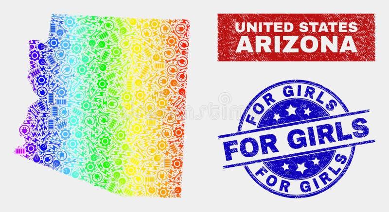 Spektrumenheten Arizona påstår översikten och som skrapar för flickavattenstämplar royaltyfri illustrationer