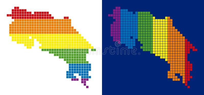 SpektrumPIXEL prickiga Costa Rica Map royaltyfri illustrationer