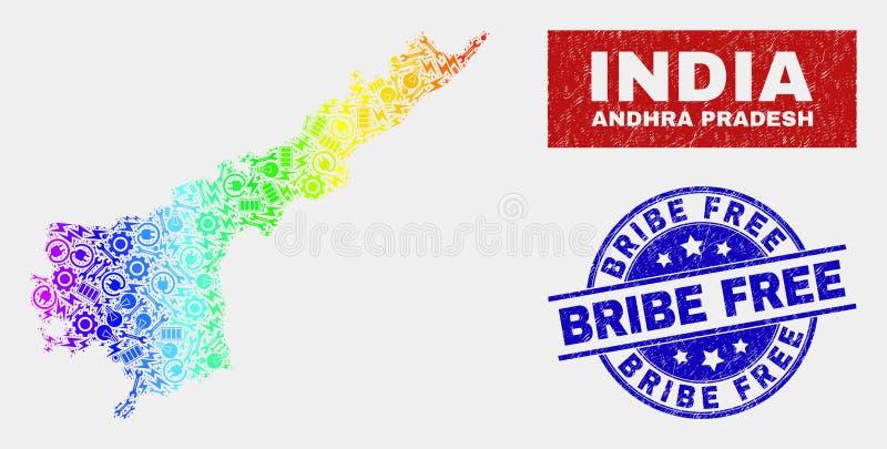 Spektrumproduktivitet Andhra Pradesh State Map och att bedröva för att muta fria vattenstämplar royaltyfri illustrationer