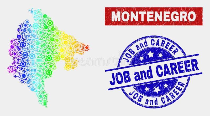 SpektrumserviceMontenegro översikt och skrapade jobb- och karriärskyddsremsor vektor illustrationer