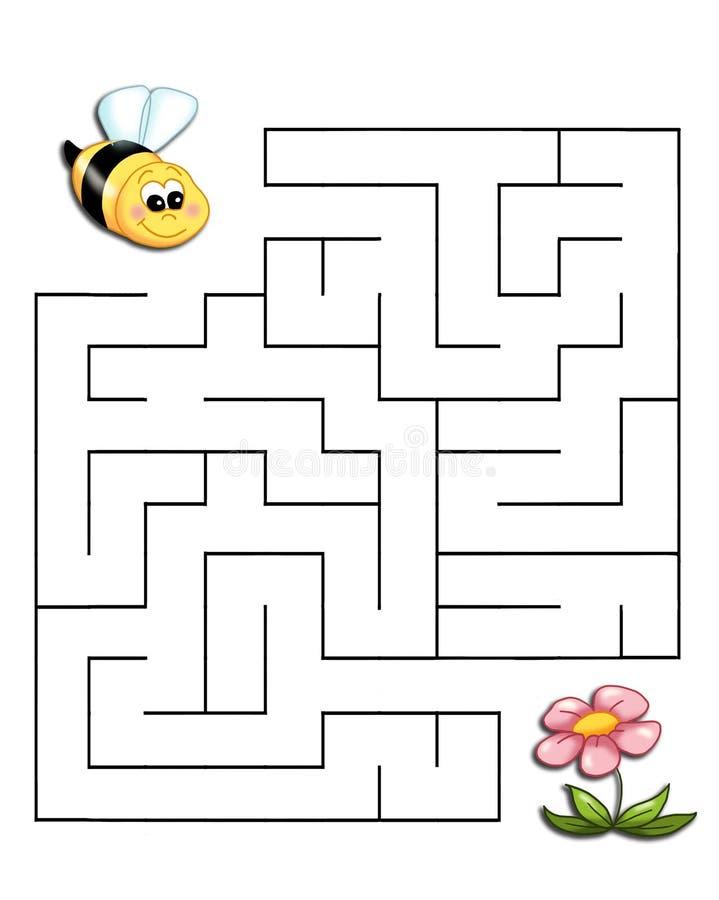 Spel 19, de bij bereikt de bloem royalty-vrije illustratie