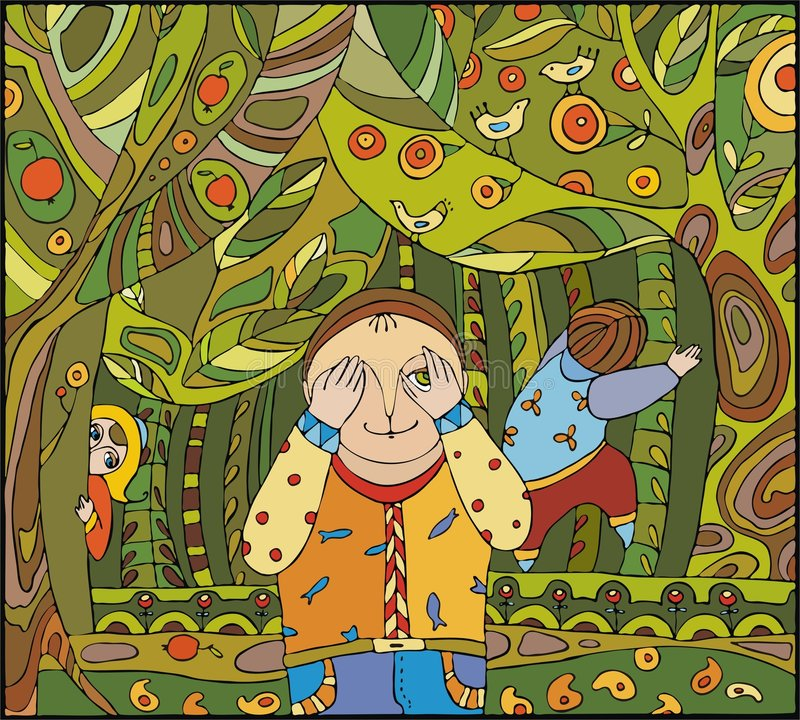 Spel in bos stock illustratie