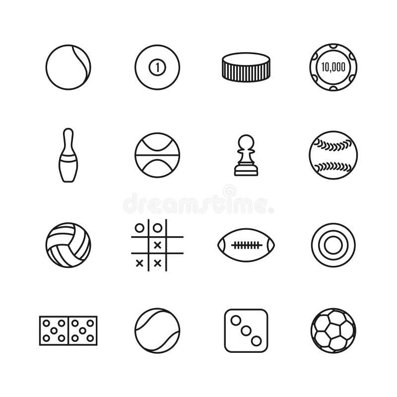 Spel en sportpictogrammen van dunne lijnen, vectorillustratie vector illustratie
