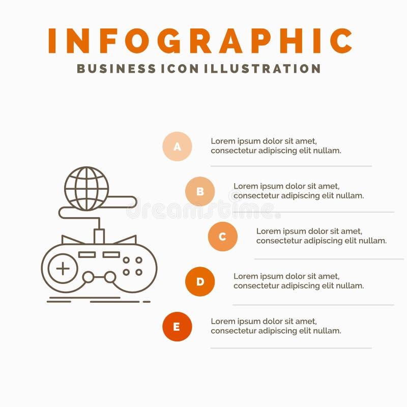 Spel, gokken, Internet, multiplayer, online Infographics-Malplaatje voor Website en Presentatie Lijn Grijs pictogram met Sinaasap royalty-vrije illustratie