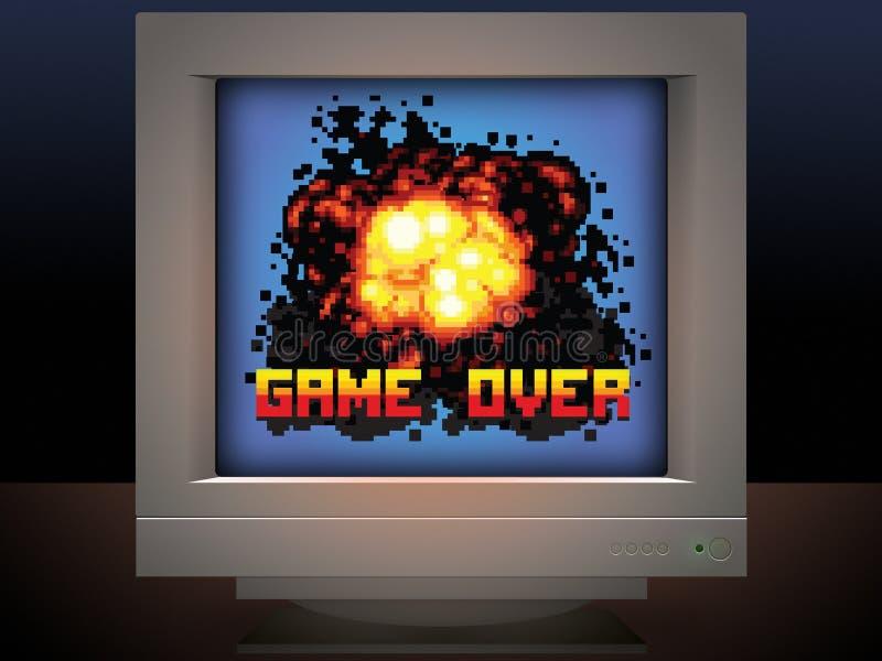Spel over illustratie van het explosie retro videospelletje royalty-vrije illustratie