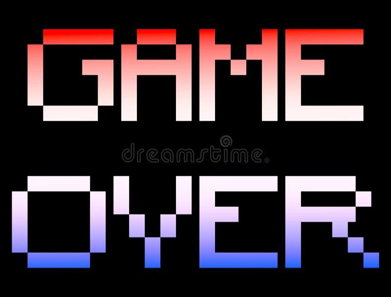 Spel over reusachtige yuge met 8 bits vector illustratie