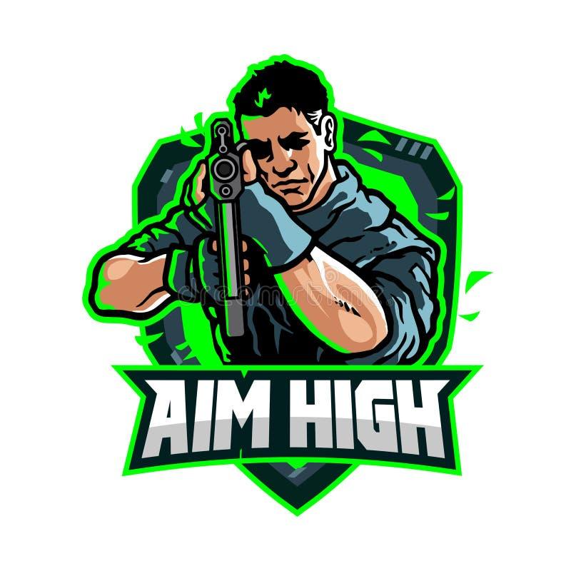 Spel Team Cartoon Mascot Logo Badge van doel het Hoge eSport stock illustratie