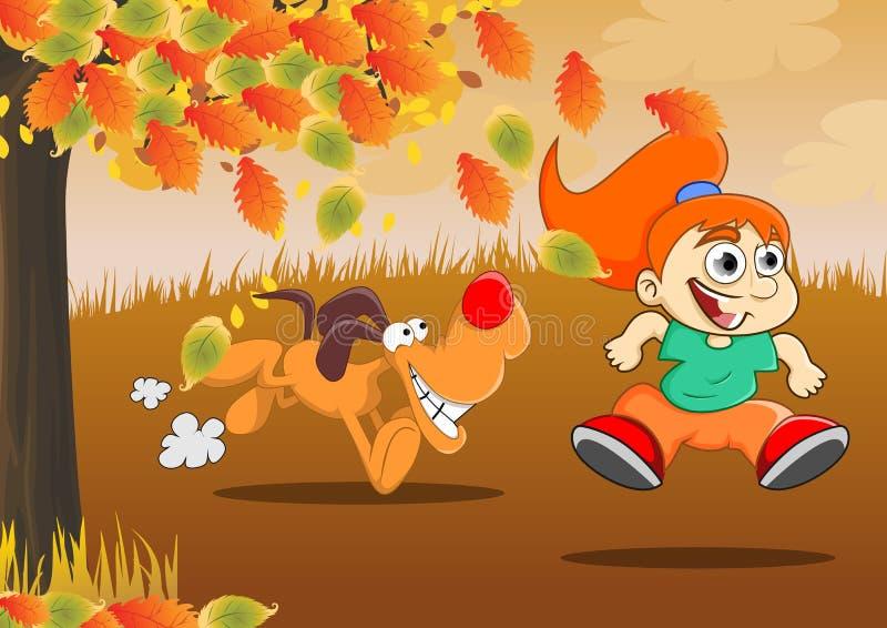 Spel tijdens de herfst stock illustratie