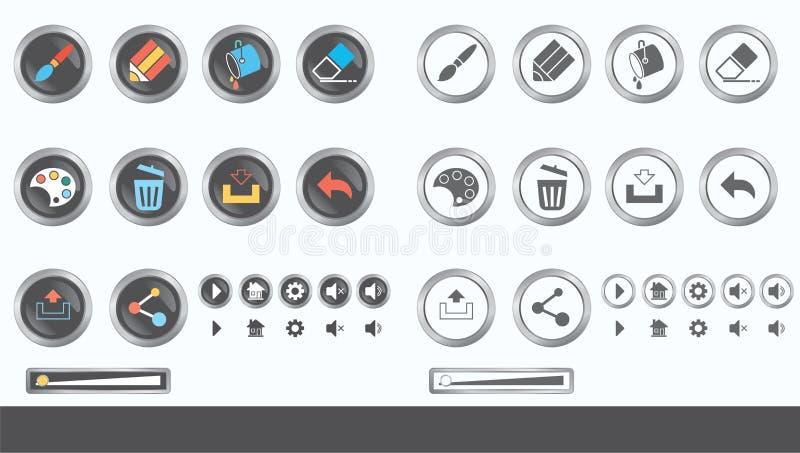 Spel UI - vectorreeks knopen voor mobiele spel of app voor ontwerp van de ontwikkelings het vrije stijl stock illustratie