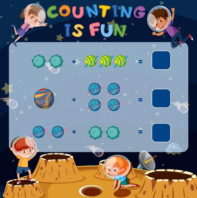 Spel van de wiskunde het tellende pret vector illustratie
