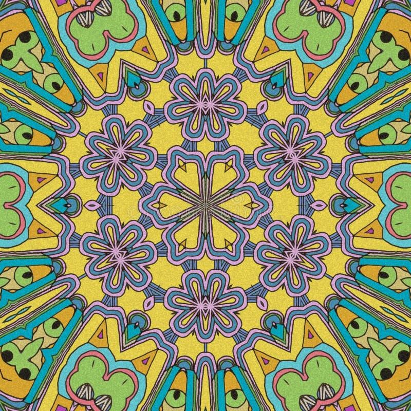 Spel van Kleuren De samenvatting trekt met gezichten en bloemen royalty-vrije illustratie