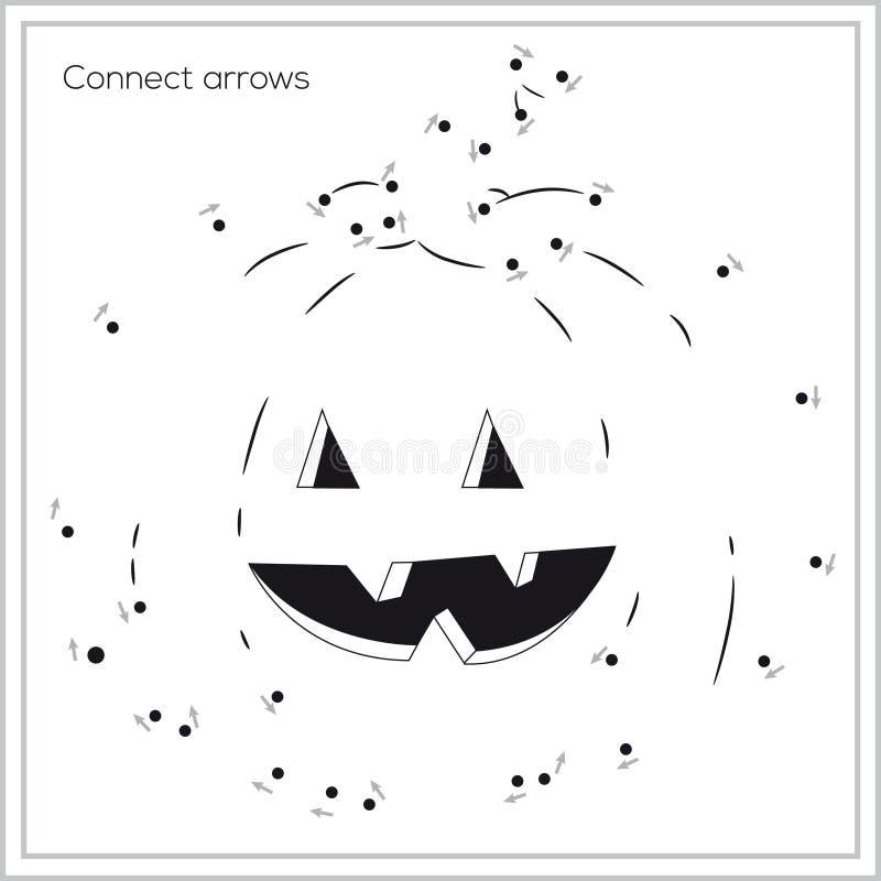 Spel - verbind pijlen - gelukkige pompoen (vector) stock illustratie
