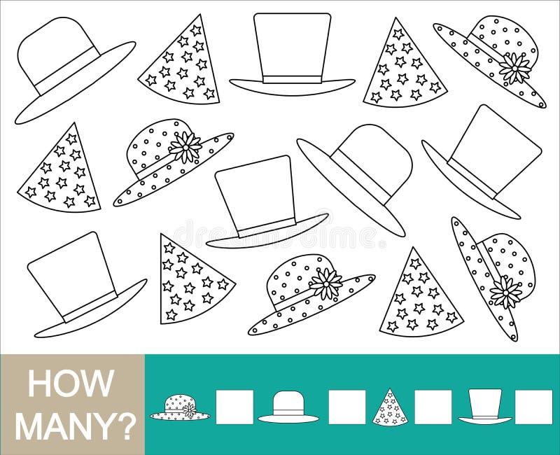 Spel voor kinderen Hoeveel hoed en hen kleur Het leren aantallen royalty-vrije illustratie