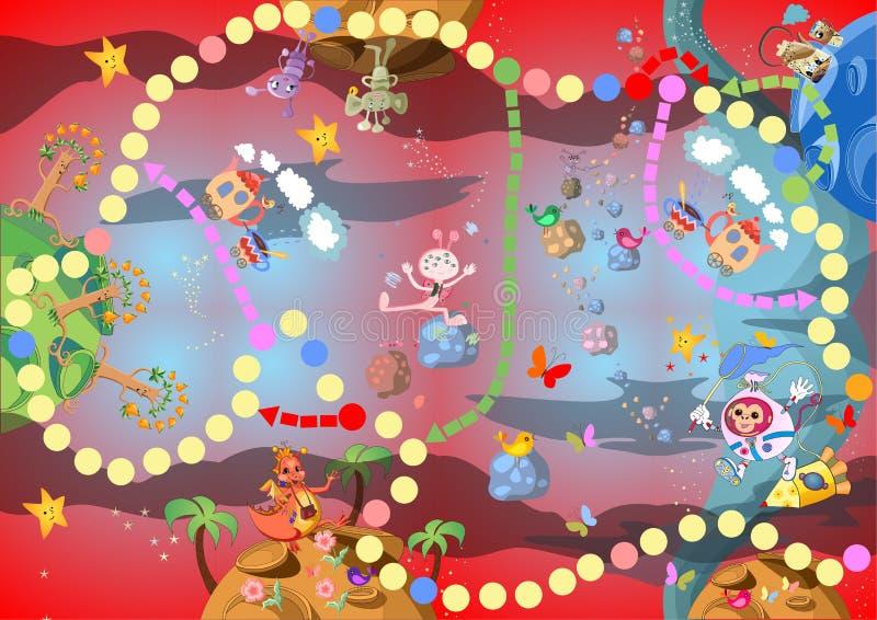 Spel voor kinderen - reis door de fantastische ruimte stock illustratie