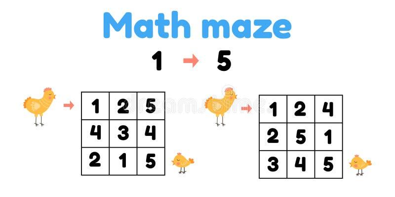 Spel voor kleuters wiskundig doolhof Help de kip om de kuiken te vinden vind aantallen van 1 tot 5 stock illustratie