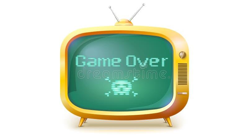 Spela över, PIXELtext, skallen och ben på skärmen Gul TVuppsättning med meddelandet Retro stil av TV eller dataspelen, 3D royaltyfri illustrationer