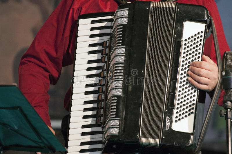 Spela accordeonmusikinstrumentet royaltyfria bilder