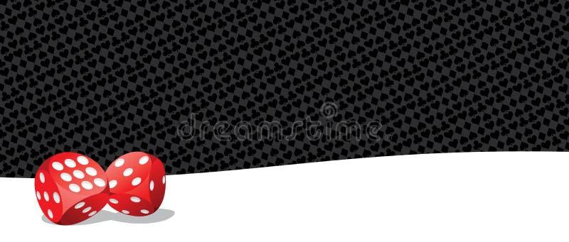 Spela att spela tärnar på svartvit bakgrund vektor illustrationer