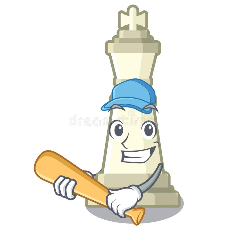 Spela baseballschackkonungen som isoleras i teckenet royaltyfri illustrationer