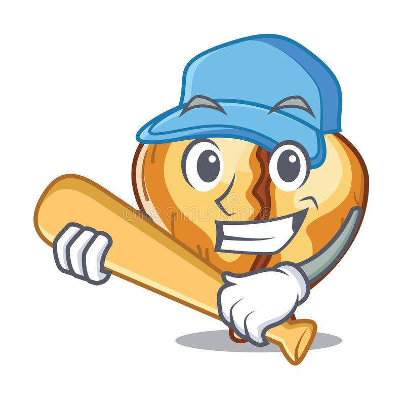 Spela baseballtortellinien som isoleras med maskot vektor illustrationer