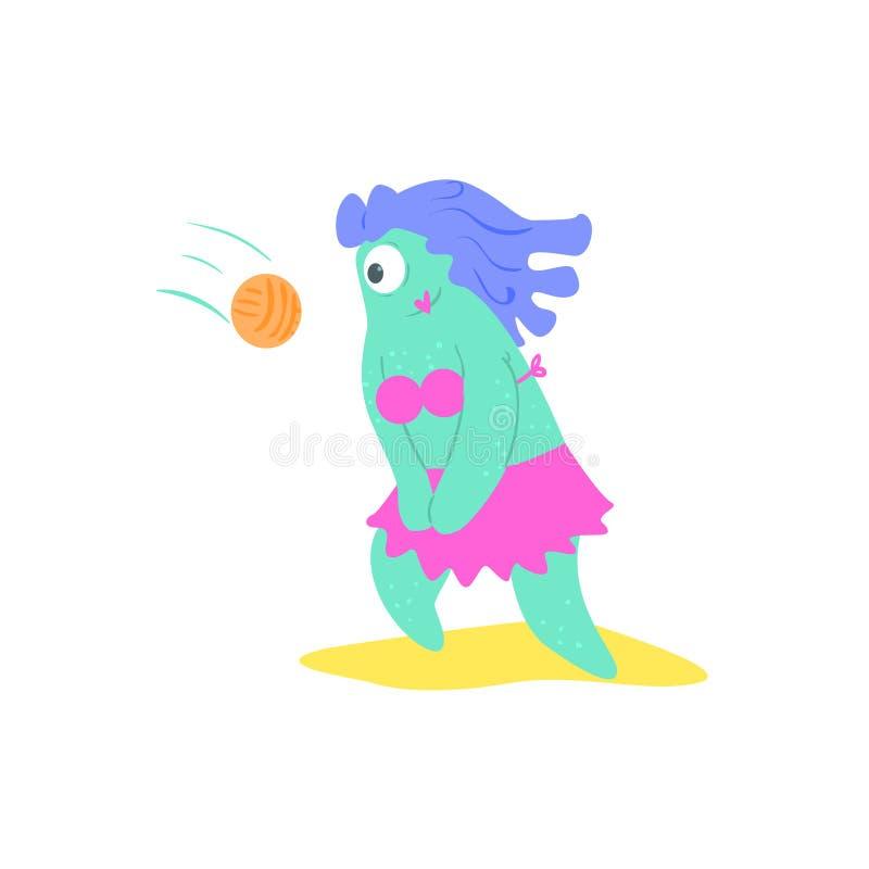 Spela det kvinnliga monstret för volleyboll på stranden stock illustrationer