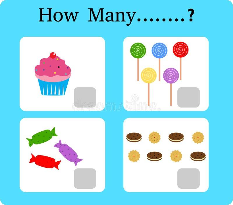 Spela för precounting, skolbarn, leken för ungar som lär matematik som är bildande en matematisk lek, how many stock illustrationer