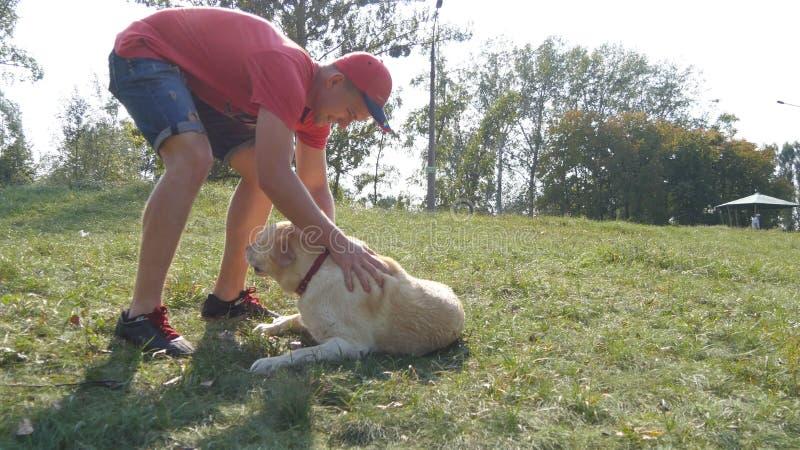 Spela för ung man som och för hund är utomhus- på naturen Labrador eller golden retriever och hans manliga ägare spenderar tid ti royaltyfri foto
