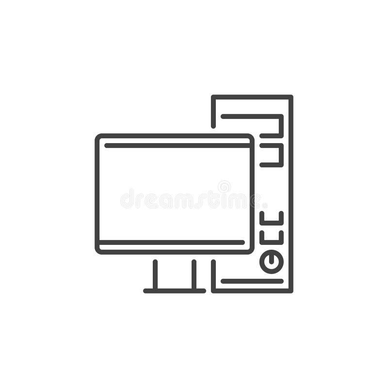Spela för vektorbegrepp för skrivbords- dator symbolen för översikt royaltyfri illustrationer