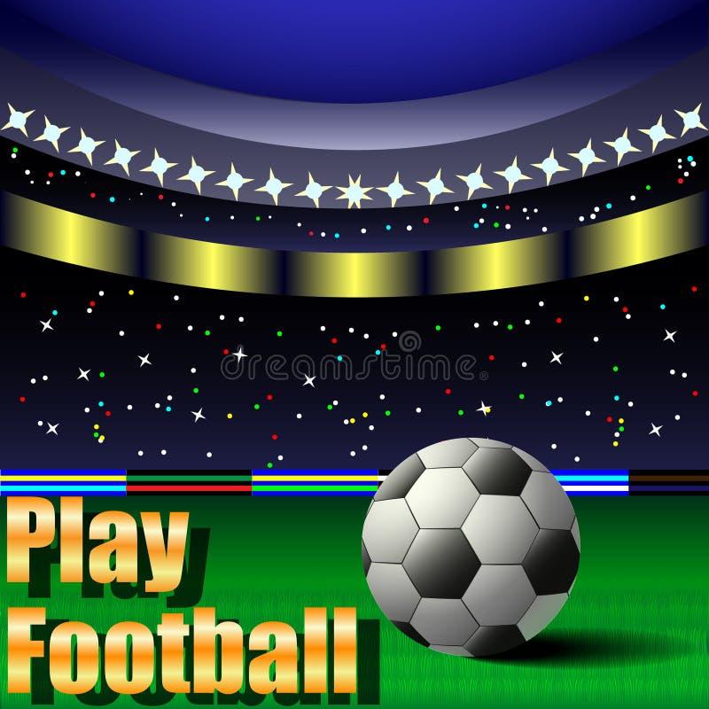 Spela fotboll, fotbollbollen på fältet, stadion royaltyfri illustrationer