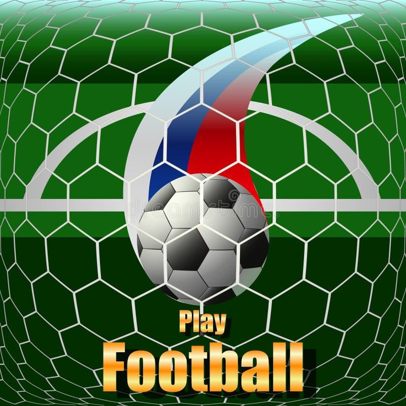 Spela fotboll, fotbollbollen på fältet, stadion stock illustrationer