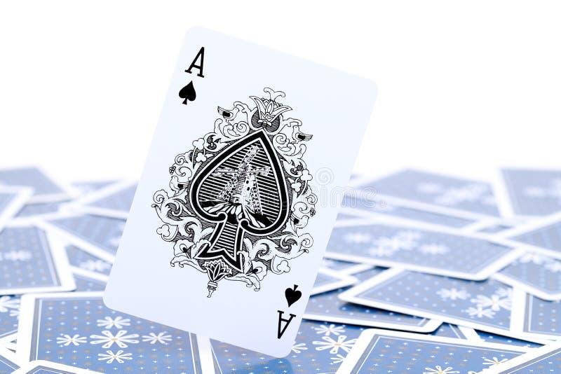 Spela kortöverdängaren av spaden royaltyfria bilder
