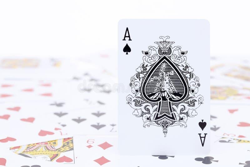 Spela kortöverdängaren av spaden royaltyfri fotografi