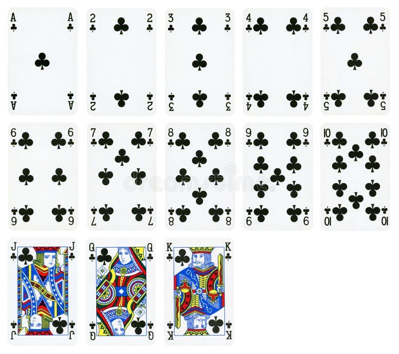 Spela kort av klubbadräkten som isoleras på vit royaltyfri fotografi