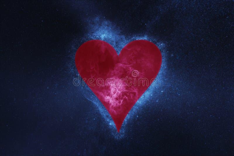 Spela kortet hjärta isolerad symbolwhite Abstrakt bakgrund för natthimmel arkivfoton