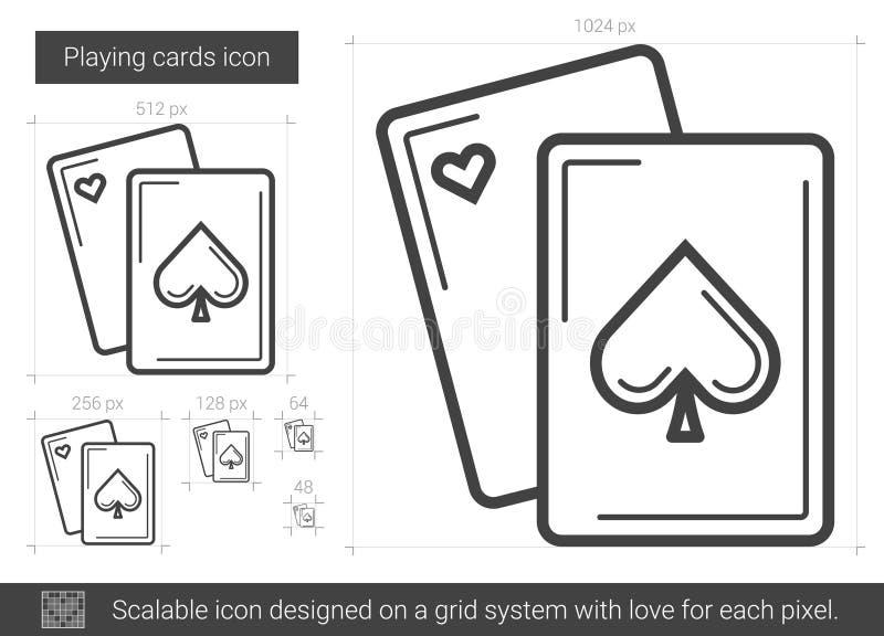 Spela kortlinjen symbol stock illustrationer