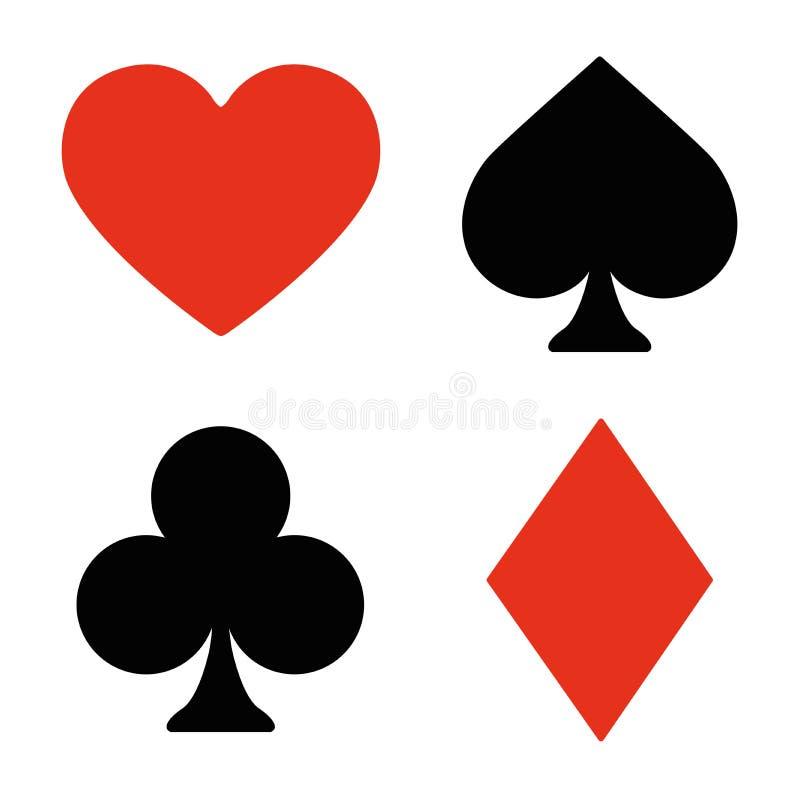 Spela kortsymboluppsättningen royaltyfri illustrationer