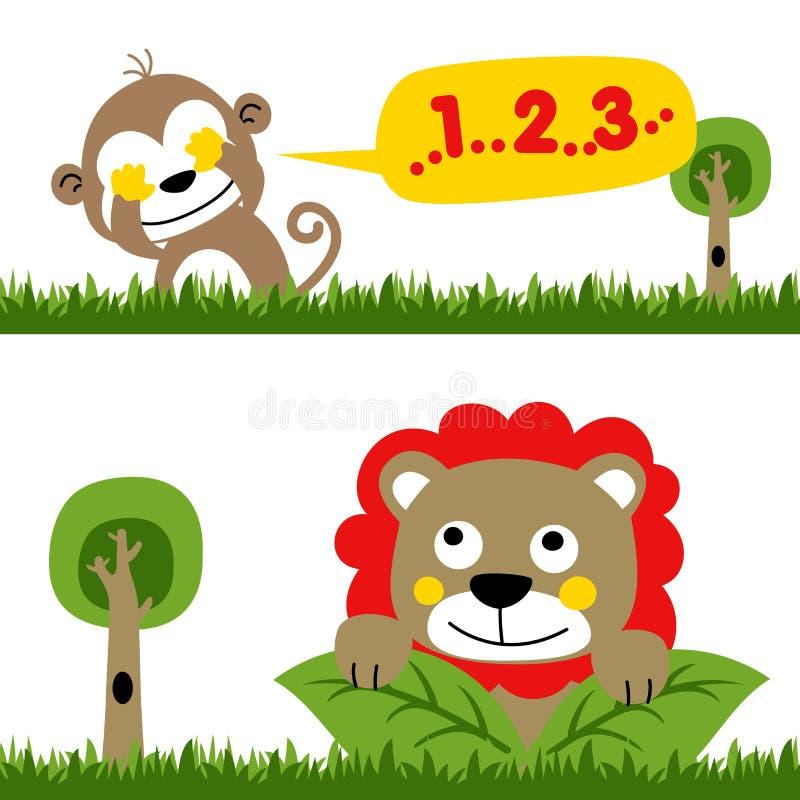 Spela kurragömma i djungel med apan och lejonet, vektortecknad filmillustration royaltyfri illustrationer