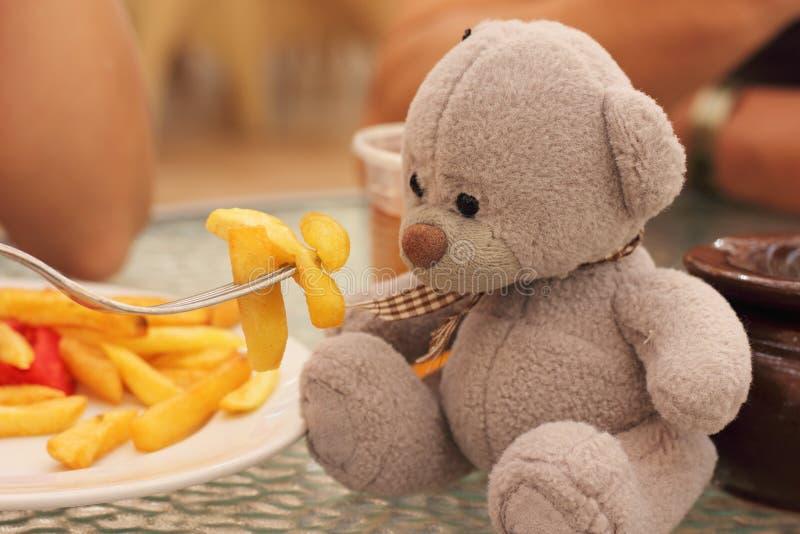 Spela med en nallebjörn royaltyfri foto