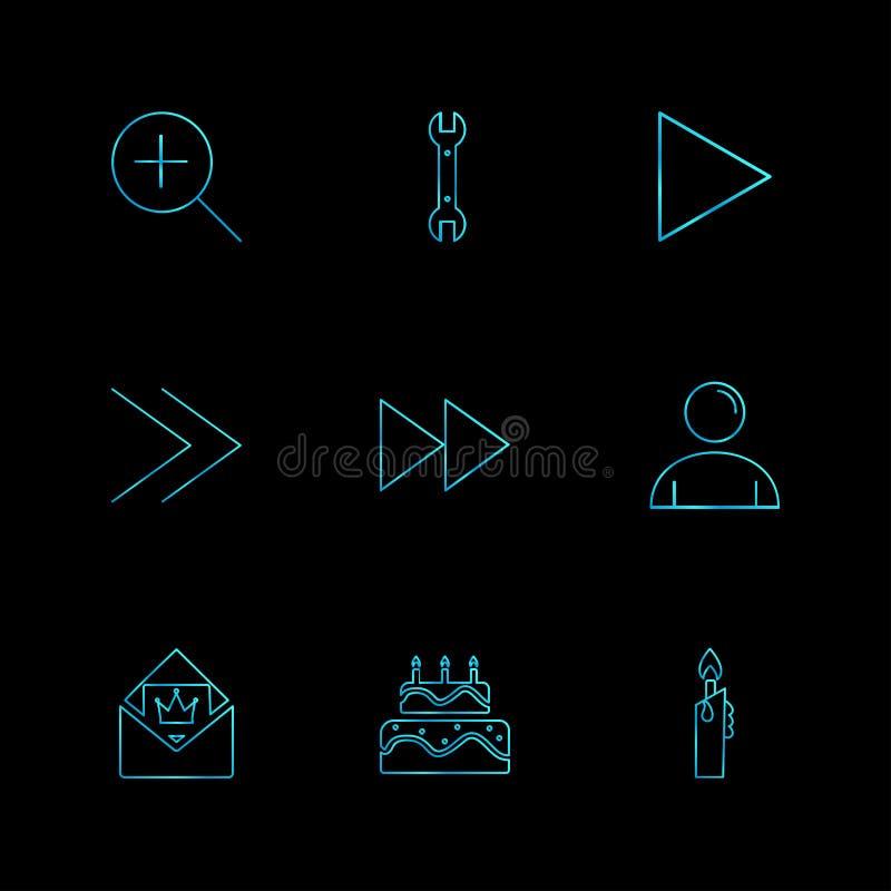 spela, rita, baka ihop, användargränssnittsymboler, pilar, navigati stock illustrationer